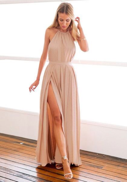 SMOOTH WOVEN FABRIC GOWN